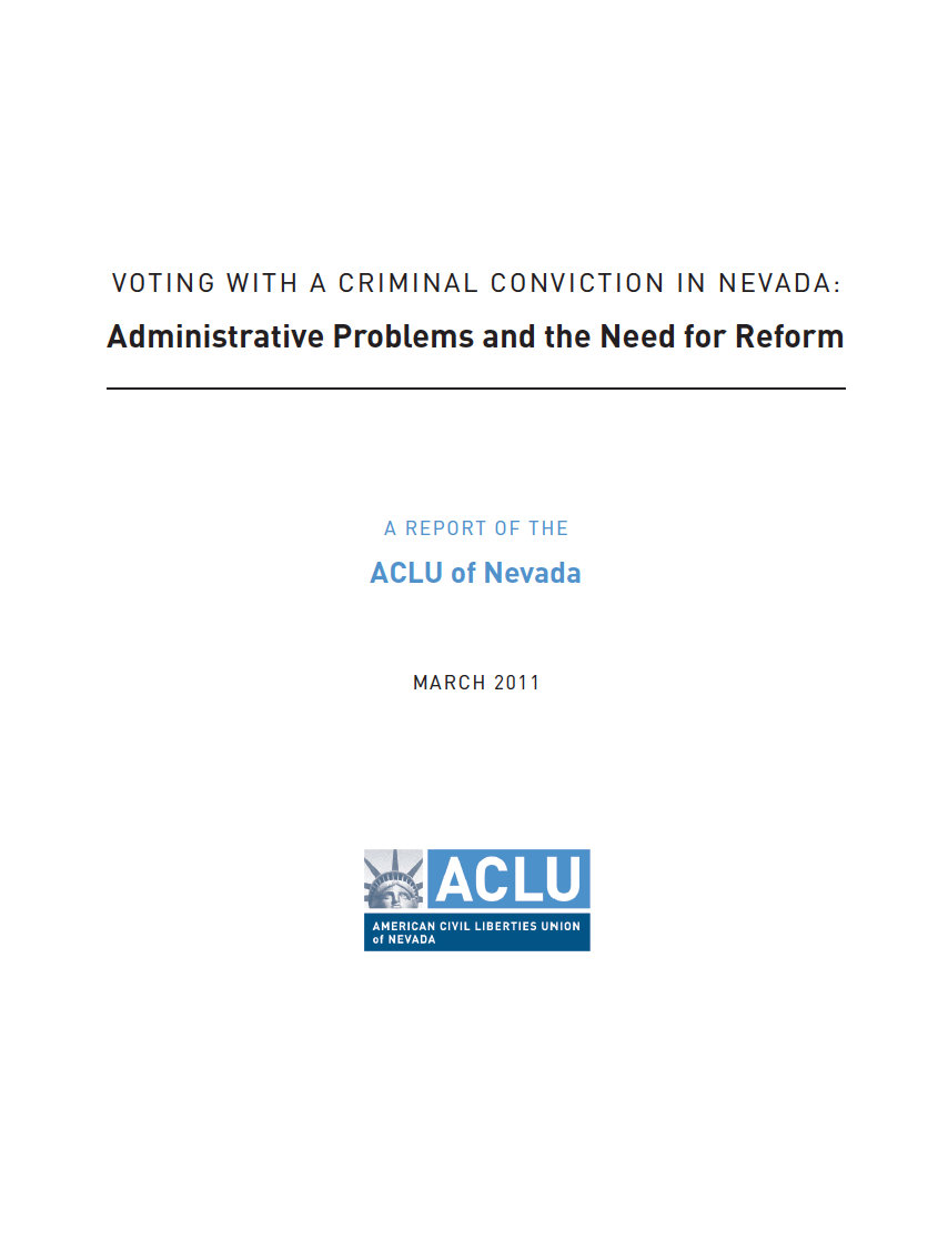 Cover image for report: Voting in Nevada with Criminal Convictions